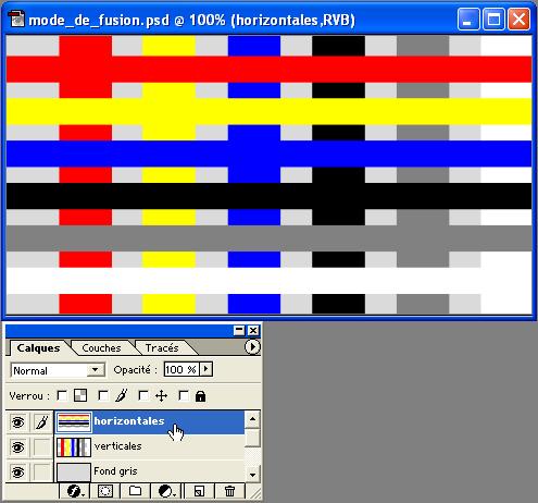Un troisième troisième et dernier calque - horizontales - est donc placé en  haut de la pile. Nous retrouvons les mêmes couleurs que sur verticales, ... f47e55c4c336