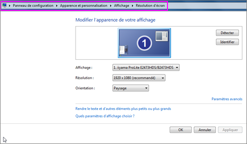 Lilapuce Paramètres Daffichage Windows 7