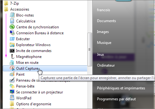 Lilapuce capture d cran windows 7 for Fenetre windows 7 outils