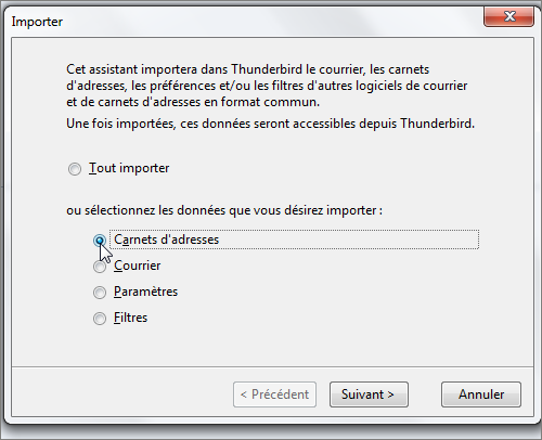 Lilapuce - Thunderbird [2] : importer des contacts